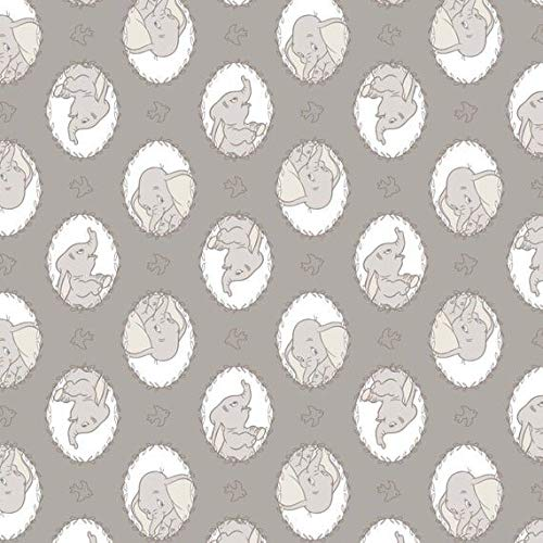 Disney Classic Dumbo Frames in Zinc Sketch Baby Elephant Nursery Premium Quality 100% Cotton Sold by The Yard.