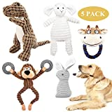 KONKY Squeaky Dog Toy Set, 5 Packs Durable Dog Plush Toys Chew Toys Dog Companion, Various Animals Shapes Training Toy for Puppy Small Medium Large Dogs (Dinosaur, Monkey, Sheep, Rabbit and Bull)