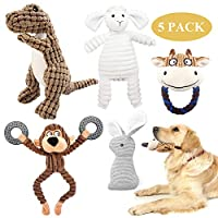 HIGH QUALITY MATERIAL - These soft dog toys are made of healthful plush polyester which is safe, soft and durable for pet puppy teething. The plush dogs are chewy, machine washable and easy to clean. INTERESTING APPEARANCE - Cute & vivid animal desig...