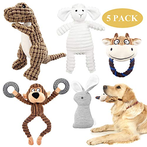 KONKY Squeaky Dog Toys Set, 5 Packs Durable Dog Plush Toy Chew Toys Dog Companion, Various Animals Shapes Training Toy for Puppy Small Medium Large Dogs (Dinosaur, Monkey, Sheep, Rabbit and Bull)