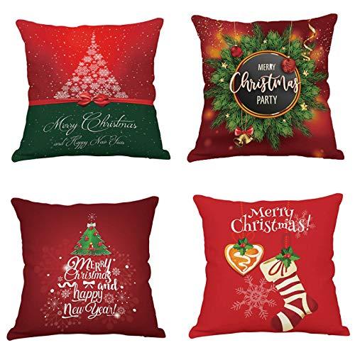 whcct Christmas Christmas Red Pillowcase Decoración del árbol Funda de cojín de Santa Claus