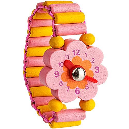 alles-meine.de GmbH 1 Stück _ Armbanduhr / Kinderuhr - rosa Blume - Blüte - aus Holz - bewegliche Zeiger ! - Armband mit Lernuhr - Uhr für Kinder - Mädchen & Jungen - Holzarmband..