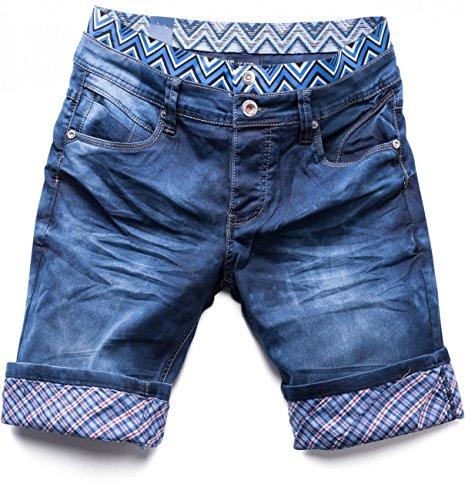 ArizonaShopping Herren Jeans Shorts Hose Walkshort Waschung, Farben:Dunkelblau, Größe Shorts:28W