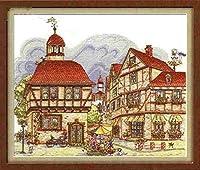 クロスステッチ刺繍キット、ジェンファディアンビレッジ家の装飾ギフト用のDIY子供用初心者アート印刷パターン刺繍キット(11CT 40X50cm)