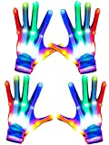 Camlinbo 2 Pair Halloween LED Light Up Gloves Rave Glow Gloves with 5 Colors 6 Modes Flashing Finger Gloves Toys for Women Men Teens Kids Birthday Costume Glow in The Dark Party Supplies Toys Gift