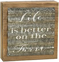 CWI Gifts Life is Better on The Farm Corrugated Metal Box Sign, Multicolored