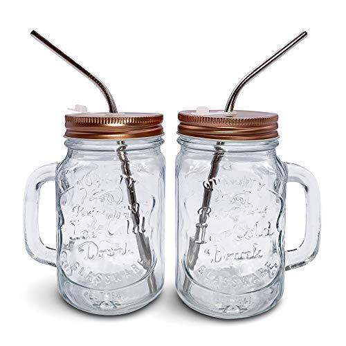 Home Suave - Mason Jar Mugs with Handle, Regular Mouth Colorful Lids with 2 Reusable Stainless Steel Straw, Set of 2 (Rose Gold), Kitchen GLASS 16 oz Jars,