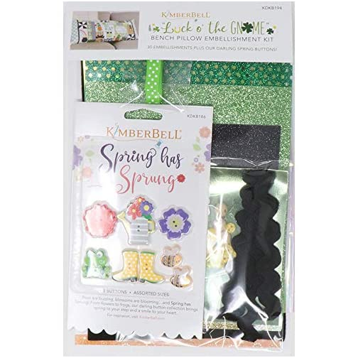 Kimberbell Embellishment Kit Luck O' The Gnome(30 Pcs): Includes Spring Has Sprung Buttons KDKB186, Applique Glitter… |