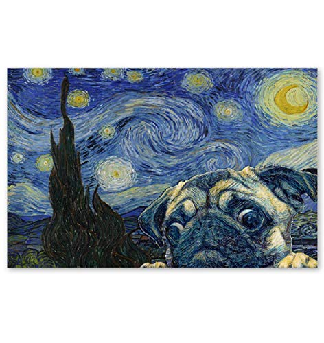 HAPPYDAY STORE Pug Starry Night Poster (24 inches x 36 inches)