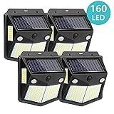 Kaulsoue 160 LED Solar Security Lights Outdoor Motion Sensor【2 Sensors】, Outside Waterproof Solar
