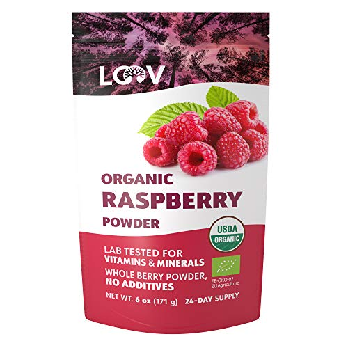 Organic Raspberry Powder, Made from 100% Whole Berries, Powdered Freeze Dried Raspberries, 171 g, Raw, Grown in Europe, 24-Day Supply, no Additives, no Added Sugar, USDA/EU Certified Organic