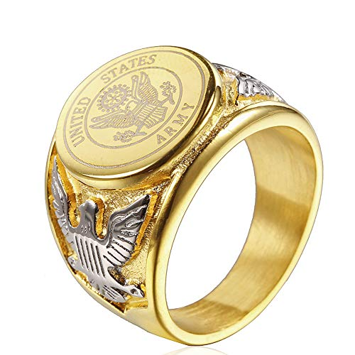 JAJAFOOK Vintage Titanium Steel US Military Army Ring Eagle Medal Rings for Men, Silver/Gold/Black (Gold with Silver, 10)