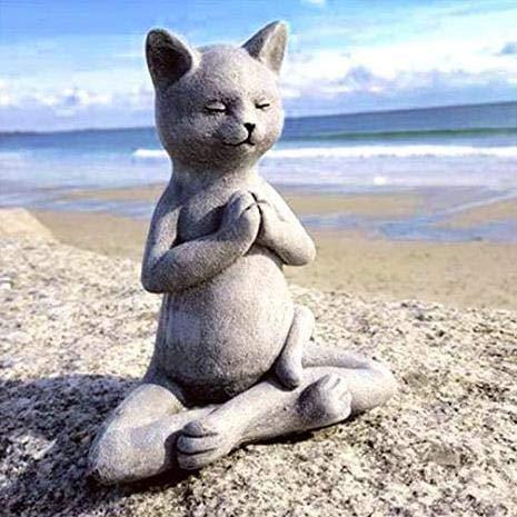 Cat Buddha - Yoga Buddha Zen Cat, Meditating Cat Statue, Cat Buddha Sculpture, Spring Decorations for The Home, Spiritual Decor, Table Centerpiece, Cats Dhyana Mudra Pose Ornaments (A1)