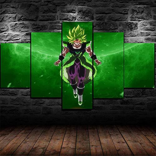 CVBGF 5 Teilig Leinwandbilder Bild auf Leinwand/Broly Film Dragon Ball Super/Vlies Wandbild Kunstdruck Wanddeko Wand Kunstdruck Malerei, Mit Rahmen-Größe:M/W=150Cm,H=80Cm