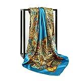 La bufanda de seda azul de 90 cm de largo es bonita y a la moda, el color es fresco, suave y sedoso, es un imprescindible para las mujeres en verano.