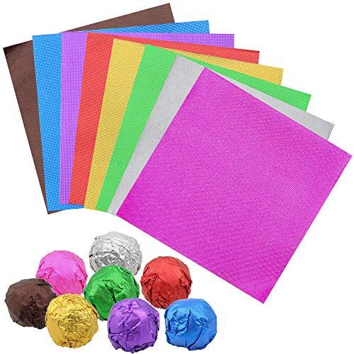 Dreamtop 800 unidades 8 colores envoltorios de caramelo de chocolate de aluminio para decoración de embalajes de caramelos, 3.15 x 3.15 pulgadas cuadradas