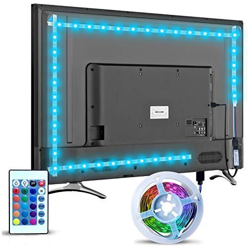 Striscia LED TV Retroilluminazione, Hoobabuy 3m 9.8 feet Striscia LED USB Alimentata con Telecomando e 16 Colori e 4 Modalità, Striscia Luminosa a LED RGB 5050 per HDTV da 40-60 Pollici, PC Monitor
