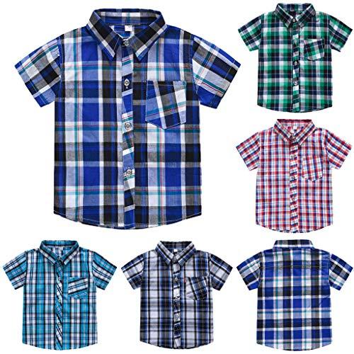 Kinder Kurzarm Gestreift Plaid Print Freizeithemd T-Shirt Top Kinder T-Shirt Print T-Shirt Kurzarm Brief Top Sommer Top Lose Kleidung Jungen Kleidung