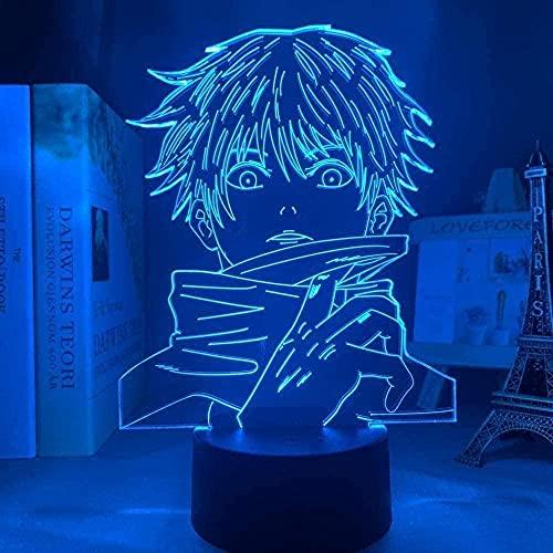 Lámpara de ilusión óptica LED 3DAnime Jiu-Jitsu Kaiseki's Jiu-Jitsu Kaise7 colores que cambian la lámpara de mesa de mesa decoración del hogar para cumpleaños de niños o regalos de-7 color touch