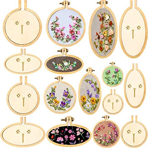 16 Sets Mini Embroidery Hoop Wooden Mini Crossing Stitch Hoop Mini Ring Embroidery Circle for product image