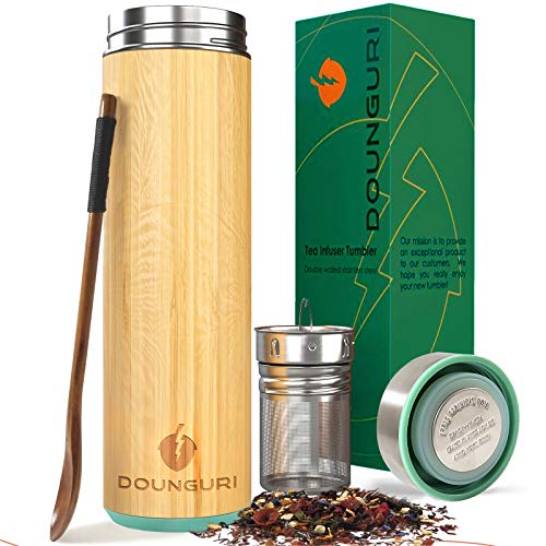 DOUNGURI Bamboo Tea Tumbler Mug with Strainer Infuser - 18oz Vacuum Insulated Stainless Steel Thermos with Filter for Loose Leaf/Coffee Travel Bottle/Hot and Cold Water/Leak Proof/Gift Ready