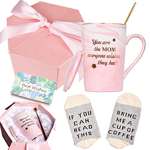 Bosmarlin Birthday Mother's Day Gifts for Mom, You're The Mom Everyone Wishes They Had Mug, Funny Mug Gifts for Mother, 13 oz, Pink Ceramic Marble Mug (Pink)