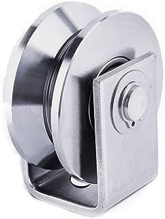 Chiloskit 2 inch 304 Stainless Steel Sliding Gate Roller Wheel Bearing V Groove Guide Pulley for Swing/Sliding Sate with Wheel+Bracket,660 lbs Capacity (V)