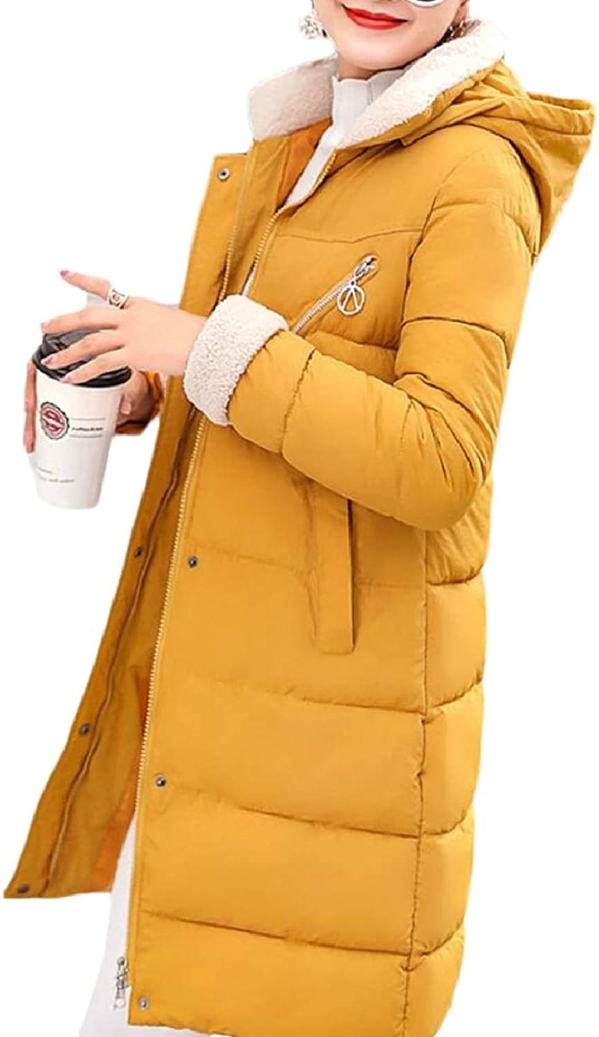 LEISHOP Women's Mid Long Quilted Slim Fit Thicken FrontZip Down Jacket Coat