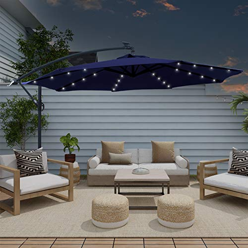 AXT SHADE 10 ft Solar Powered LED Offset Patio Hanging Umbrella Outdoor Cantilever Umbrella with 32 LED Lights, 8 Ribs, Navy Blue