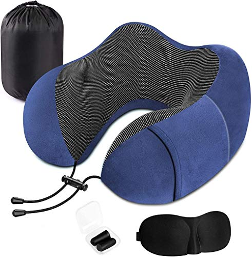 Greatideal Memory Foam Neck Pillow with Carry Case, Travel Pillow, Eye Mask and Ear Plugs, Comfortable Portable Neck Head Support Cushion for Airplane Train Car Travelling Reading Sleeping