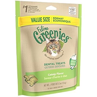 FELINE GREENIES Natural Dental Care Cat Treats Catnip Flavor, 5.5 oz. Pack
