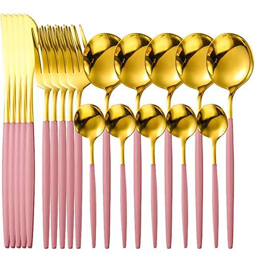 LSZZ 20 PCS/Set Juego de vajillas de Acero Inoxidable para el hogar Silve Color Cuchillo Cuchillo Tenedor Cuchara Vajilla Conjunto Cubiertos Cubiertos Flotware 0109 (Color : 2)