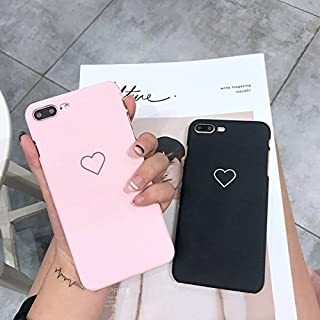shoppingmal New Men Women Sweet Love Heart Couple Frosted Hard Back Cover Cute Protection Phone Case for IPhone X 6 6S 6Plus 6S Plus 7 7Plus 8 8Plus