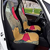 Winnie Cartoon Pooh Car Seat Covers Soft Comfortable and Elastic Car Seat Protective Case Made of Polyester, Suitable for Most Family Cars 2 PCS
