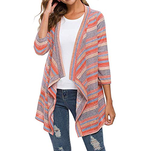 WMNU Women Jacket Fashion Jacket Women Casual Soft Open Front Lightweight Sweater Loose Long Sleeve Cardigan Orange