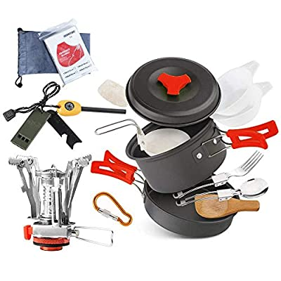 AnimaMiracle 18 Pcs Camping Cookware Set Hiking Camping Backpacking Gear & Camping Outdoors Survival Utensils Cooking Equipment Cooking pots Mini pan , Lightweight ,Camping Mess kit With Fire Starter