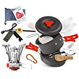 AnimaMiracle 18 Pcs Camping Cookware Set Hiking Camping Backpacking Gear & Camping Outdoors Survival...