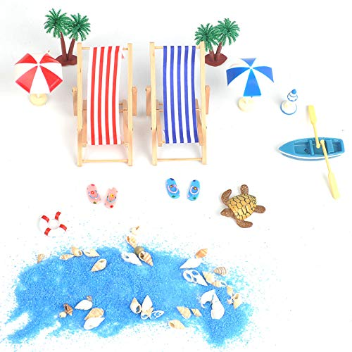 QLOUNI Miniatur Dekoration, Strand-Mikrolandschaft, Puppen Liegestuhl, Sonnenschirmen, Miniliegestuhl, Booten, Miniatur Strandstuhl Set für Geburtstagsgeschenk