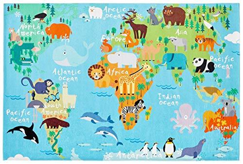 Bavaria Home Style Collection - Spielteppich Teppich Kinderzimmer Babyteppich Weltkarte - World - Bunt - Flachgewebe (80 x 120 cm)