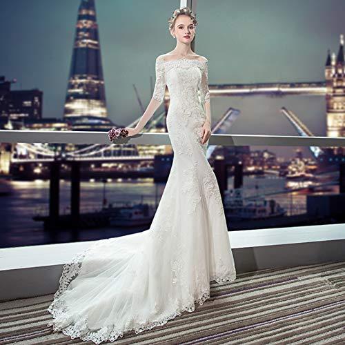 QBLDX Weißes Hochzeitskleid Langes Brautjungfernabendkleid Sexy Trägerloses Spitzenkleid Gelten Abschlussball Abendessen Hochzeit(Color:1,Size:Groß)