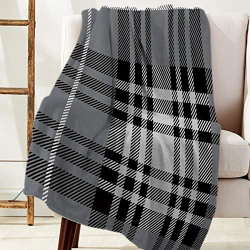 FAMILYDECOR Super Soft Warm Throw Blanket, Fuzzy Flannel Blanket for Bed, Fluffy Cozy Plush Lightweight Blanket, Gordon Plaid Home Decor Blanket for Couch Sofa Chair 40x50 Inch