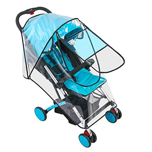 Siravic Stroller Cover, Clear EVA Stroller Rain Cover Universal Baby Travel Weather Shield Protects from Snow, Wind, Dust and Sun (U Door, Small)