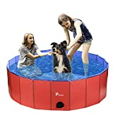 Pidsen Foldable Pet Swimming Pool Portable Dog Pool Kids Pets Dogs Cats Outdoor Bathing Tub Bathtub Water Pond Pool & Kiddie Pools (31.5inch.D x 7.87inch.H, Orange)