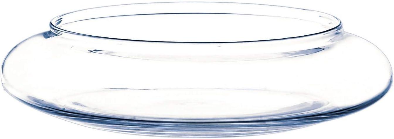 INNA-Glas Cuenco de Cristal Decorativo Chico, Transparente, 6cm, Ø 26cm - Macetero Original - Bandeja de Vidrio