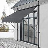 Pro-Tec Klemmmarkise Grau 250 x 118 x 205-300cm Markise Balkonmarkise Sonnenschutz ohne Bohren