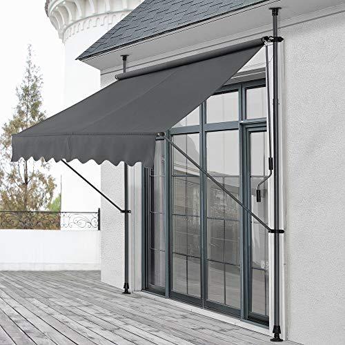 pro.tec Klemmmarkise Grau 250 x 118 x 205-300cm Markise Balkonmarkise Sonnenschutz ohne Bohren