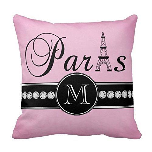Un rose Girly Noir Paris ornée d'un monogramme Couvre-lit décoratif canapé taie d'oreiller housse de coussin Home Taie d'oreiller 16 X 16