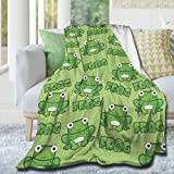 AIBILEEN Aerobics Frog Flannel Blanket Soft Warm Fluffy Plush Cozy Throw Blanket, Microfiber Blankets for Bed Couch Chair Living Room Sofa Travel Cinema Beach Picnic Yoga 50'x40'