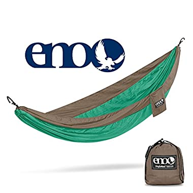 ENO Eagles Nest Outfitters - SingleNest Hammock, Portable Hammock for One, Portable Hammock for One, Emerald/Khaki