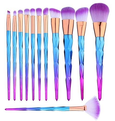 Lot de 12 pinceaux de maquillage à poils synthétiques doux et soyeux au toucher, parfaits pour les poudres liquides.